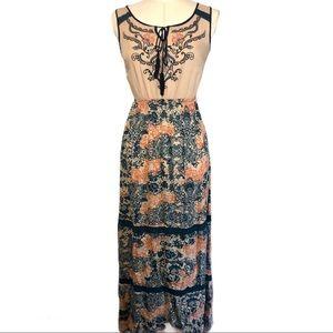 Flying Tomato Sleeveless Maxi Embroidered Dress Sm